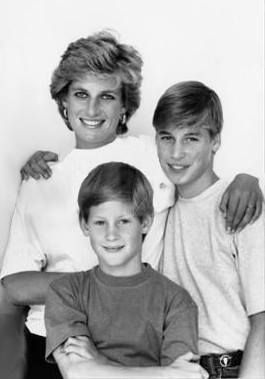 Diana, Princess of Wales with sons Prince William & Prince Harry.
