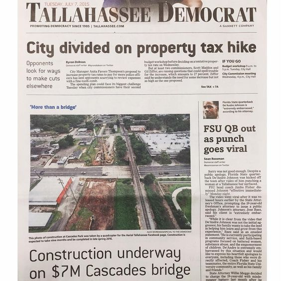 "Aerial Tallahassee on Instagram: ""Huge thanks to the @TallahasseeDemocrat for featuring one of our images on today's front page! #iHeartTally"""
