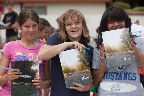 Monte Vista Christian School middle school yearbook signing...every student gets a yearbook.