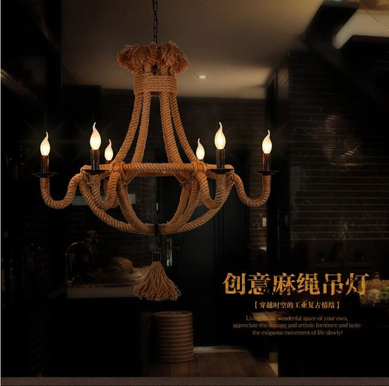woonkamer verlichting retro hennep touw kroonluchter lamp slaapkamer ...