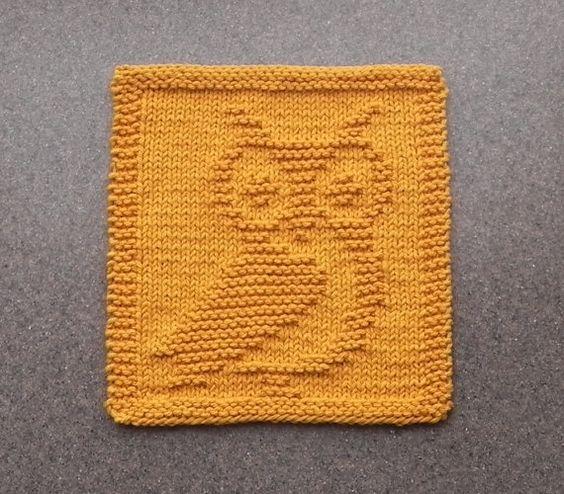 Owl Dishcloth Knitting Patterns Free : Dishcloth knit and owl on pinterest