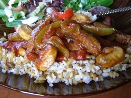 Steak, Peppers and Mushrooms, Oh-My! from Food.com:   What a great one dish meal to make for dinner!  Serve over rice or mashed potatoes with a veggie or salad.  Our favorite - served over brown rice accompanied by a salad and french bread.  Yum!