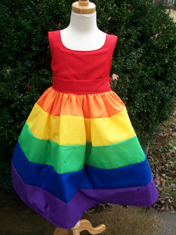 Girls Scoop Neck Rainbow Party Dress Sizes 2t 3t by mapletree2000, $50.00