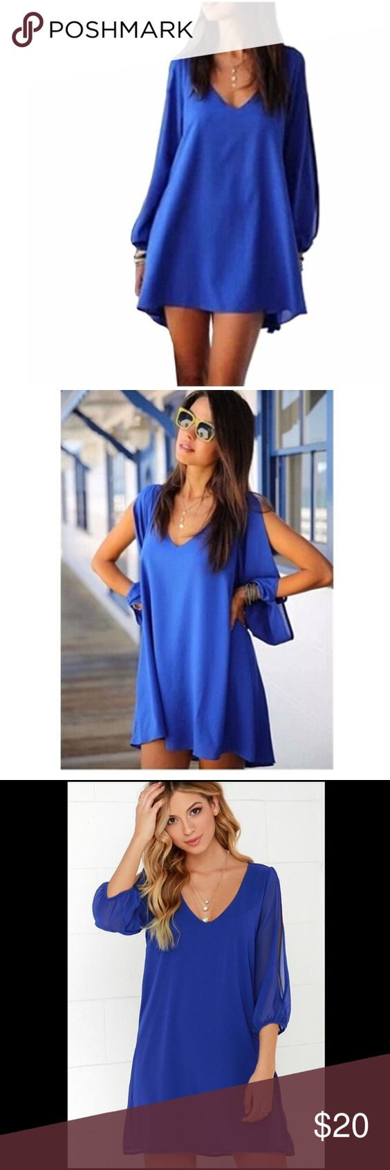 Shift Dress w/ Slit Sleeves- Royal Blue This a gently worn shift dress with slit sleeves. It is exactly like the photos pictured. It is knee length on me (I'm 5'2) but may be shorter for someone who is taller. It has no stains, tears, or holes. It comes from a smoke-free and pet-free home. This is the perfect dress for spring, summer, and fall. Pair it with heels, flats, and sandals and catch the eyes of everyone! Dresses