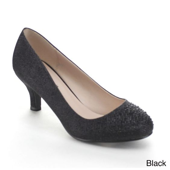 Conquer city streets like a pro in these sparky pumps. Featuring round toe, glitter upper, rhinestones at vamp, easy Slip-on style, low heel, and lightly padded footbed.