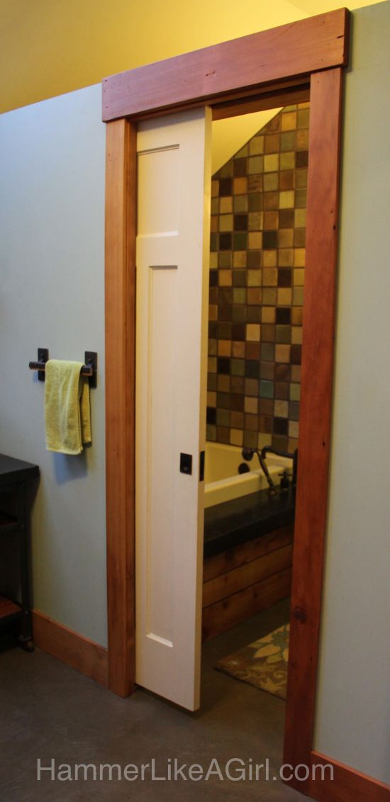 The o 39 jays pocket doors and master bath on pinterest for Master bathroom pocket door