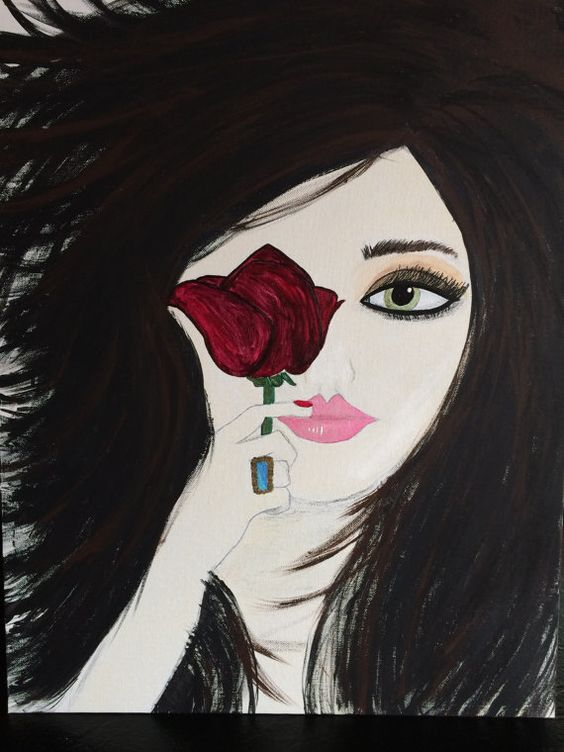 Eva. Original painting.  Glamorous and picture by JodiLynPaintings, $175.00