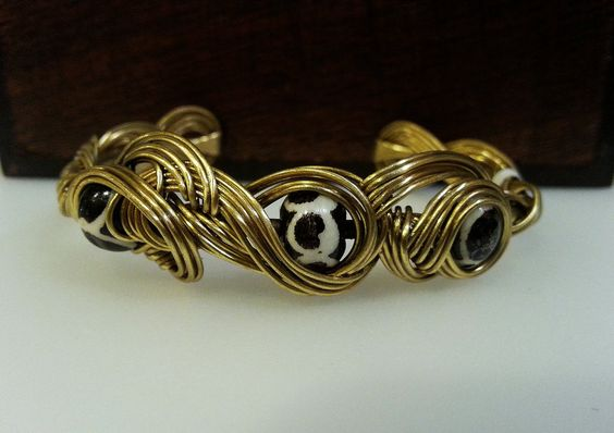 Celtic Style Wire Wrapped Brass Bracelet With African Beads by MysticMetalDesigns on Etsy
