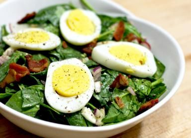 Wilted Spinach Salad with Homemade Bacon Dressing: Wilted Spinach Salad