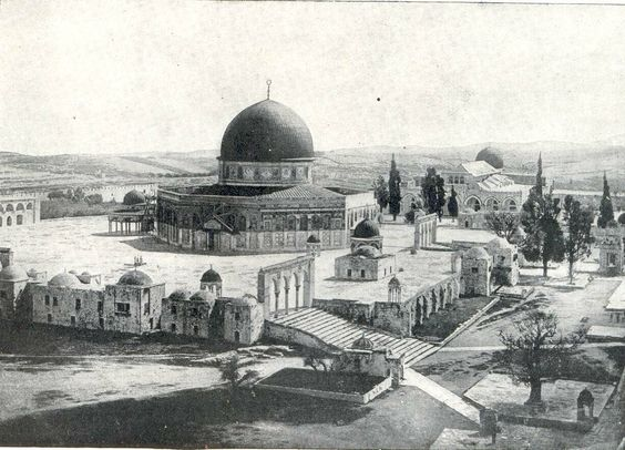The al Aqsa mosque, in Jerusalem, was finished in 691, making it one of the earliest Muslim monuments. It is today a national symbol for Palestinians. This picture is a century old.