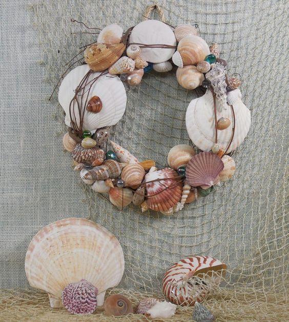Beach House Decor 11'' Sea Shell Wreath  Wall Art by ChersCottagebytheSea, $30.00