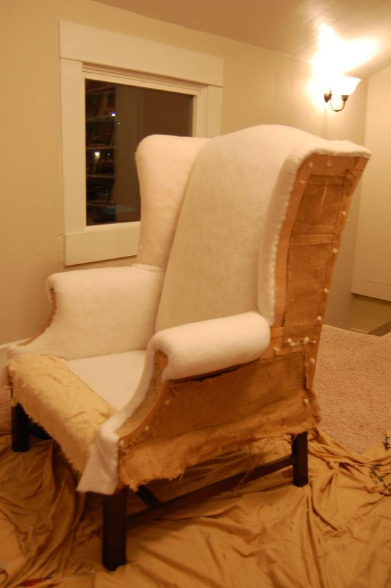 Wingback chairs chairs and chair redo on pinterest - How to reupholster a living room chair ...