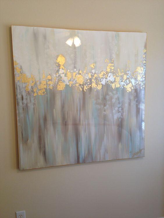 White, gray, blue, gold and silver abstract art 48x48 by Jenn Meador. jennmeadorpaint@gmail.com