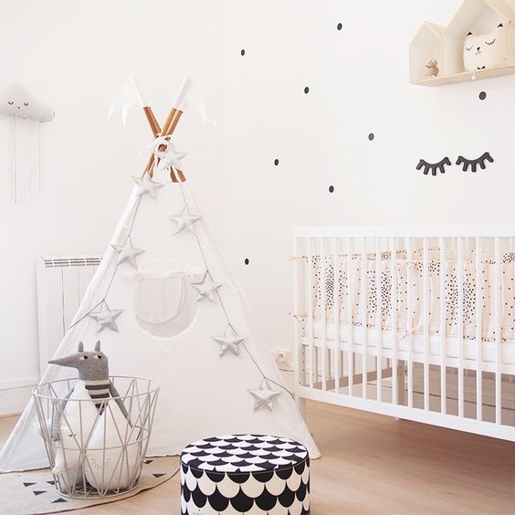 Numero74 white tepee and silver mini star garland | Source: You May Love It - www.youmayloveit.com: