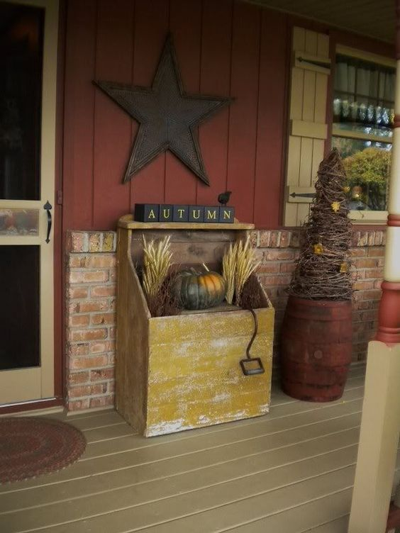Primitive porch decorating ideas primitive porch my Beautiful fall front porches