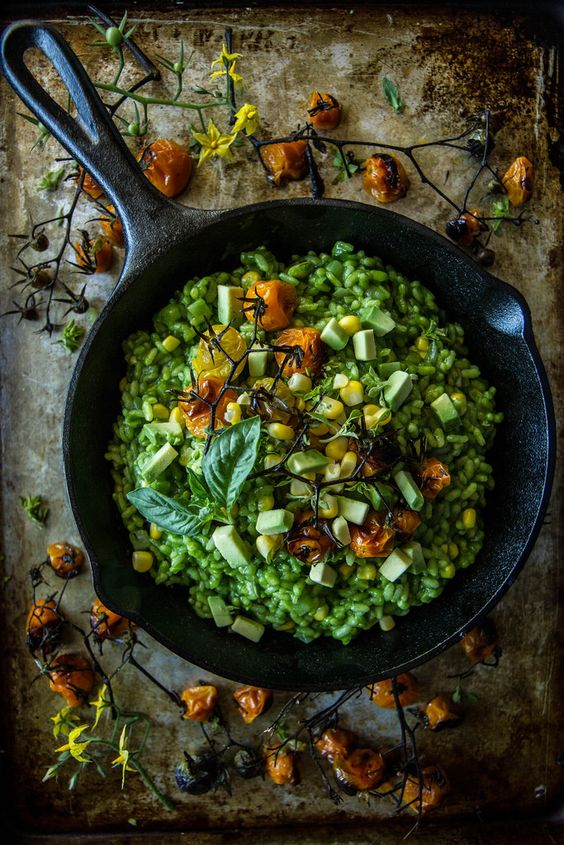 Vegan Roasted Tomato and Corn Risotto with Basil Arugula Pesto and ...