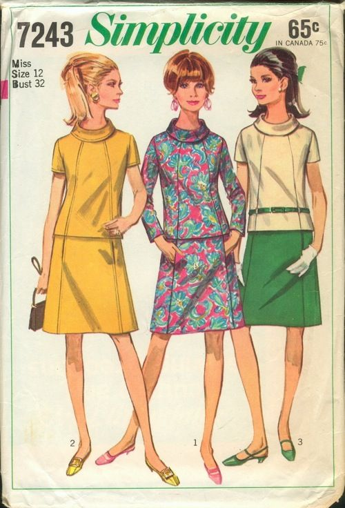 Simplicity 7243; ©1967; Misses' Two-Piece Dress: The A-line skirt with pockets concealed in side front seams has back zipper, waistband and optional top-stitching. The top with front seam interest has bias roll collar, set-in sleeves, back separating zipper and optional top-stitching. V. 1 has about wrist-length sleeves. V. 2 & 3 have short sleeves. V. 3 with self fabric carriers and purchased belt has contrasting skirt.