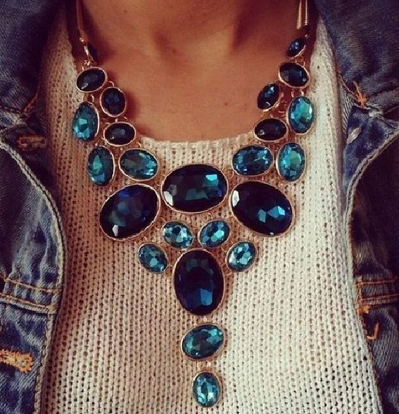 Chunk blue jewels tethered perfectly across the neck. Great for winter. Its never too early. @Allamode ⓐⓛⓛⓐmode✣✫Creative Pinner✣✫ ⓐⓛⓛⓐmode✣✫Creative Pinner✣✫ ⓐⓛⓛⓐmode✣✫Creative Pinner✣✫