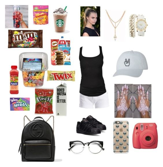 """""""Gotta have your snacks on the go."""" by anaygarcia on Polyvore featuring Barbour International, Laura Geller, Isabel Marant, Casetify, adidas, Charlotte Russe, River Island and Gucci"""