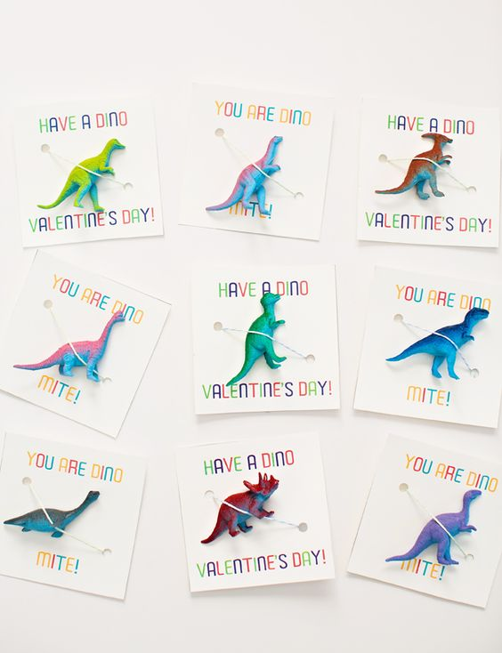 Awesome Dinosaur Non-Candy Valentine Favors with Free Printable Cards.