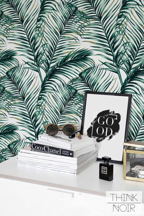 Green Watercolor Leaves Removable wallpaper/ Self-adhesive wallpaper / Leaf Wallpaper
