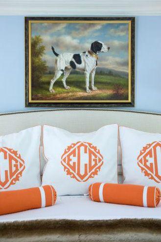 orange and blue: Dog Prints, Liz Caan, Monogramed Pillows, Monogram Pillows, Orange Monograms, Monogrammed Pillows, Master Bedroom, Dog Paintings
