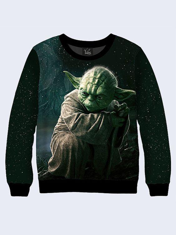Men's male youthful 3D print sweatshirt Master Yoda Star by Vilno