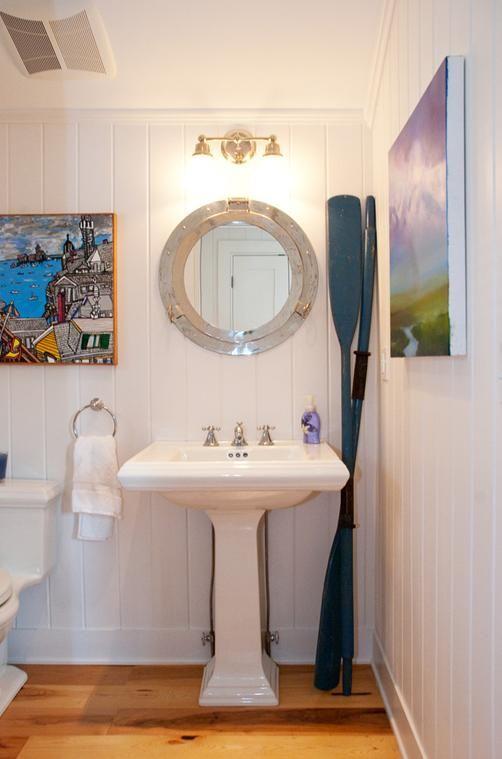 Downstairs nautical bathroom - that mirror!