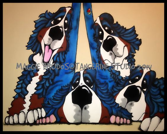 MAGGIE BRUDOS  bernese mountain support group by tangerinestudio, $250.00