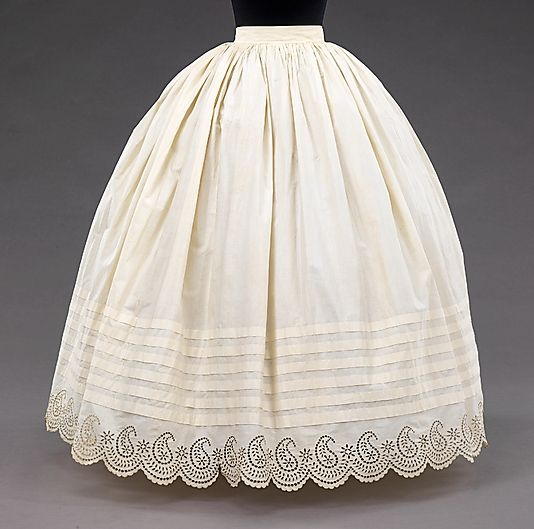 Petticoat  Date: 1855–65 Culture: American Medium: cotton Dimensions: Length at CB: 41 1/2 in. (105.4 cm) Credit Line: Brooklyn Museum Costume Collection at The Metropolitan Museum of Art, Gift of the Brooklyn Museum, 2009; Gift of Mrs. Edward Haynes, 1950 Accession Number: 2009.300.768  This artwork is not on display: