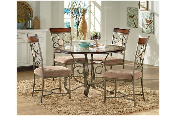 Wow! This is the cutest table set I have seen yet. This Thompson Table set is adorable with it's marble-like inlay.  http://www.valleylighting-ct.com/thtaset.html