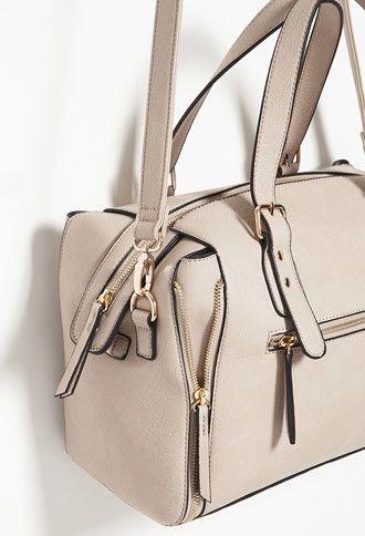 Side-Zip Faux Leather Satchel - F21