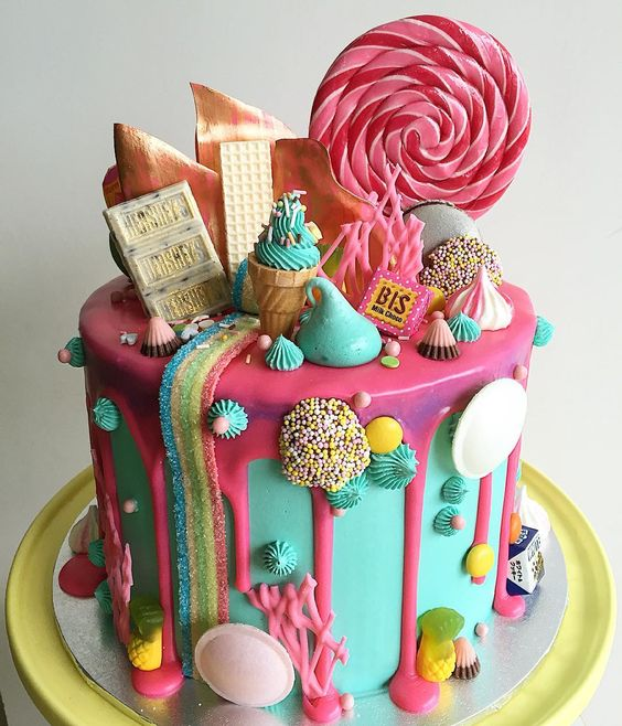 Candyland cake- Red Velvet cake with white chocolate buttercream! Every kid's or big kids dream!! Thanks Sandie  :
