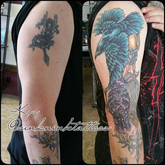 Cover up tattoo before and after viking tattoo odin for How to cover up tattoos for work