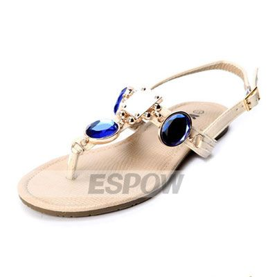 I wish these came in white with a turquoise color.    [US$33.99] Bright Jewel Encrusted Flip Flops Beach Wedding Shoes