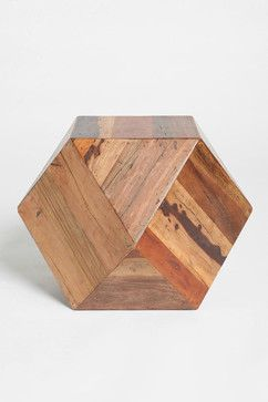 Faceted Woodblock Side Table modern-side-tables-and-end-tables