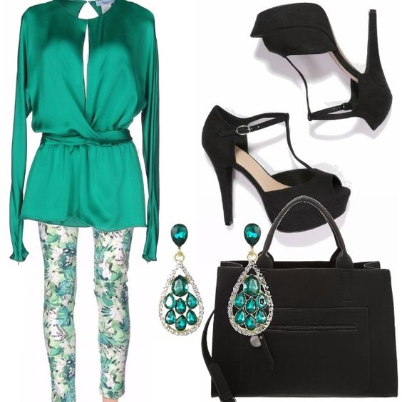 Ho creato questo outfit partendo dalla camicetta verde smeraldo davvero stupenda. La abbino a questi pantaloni verde a fiori, orecchini verde smeraldo, scarpe nere e borsa nera.