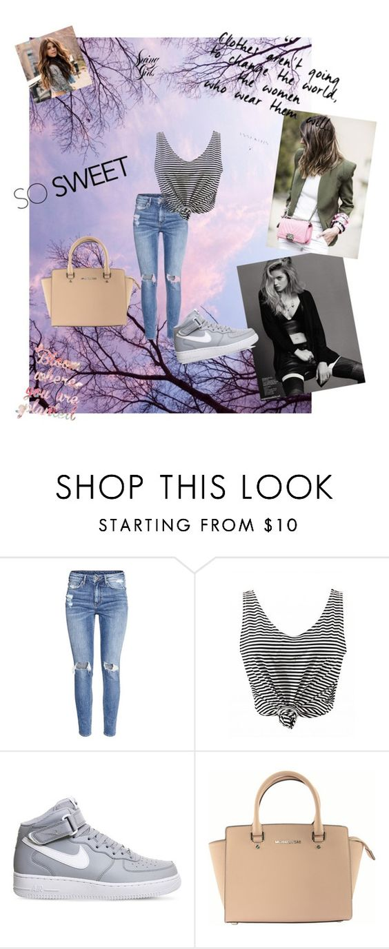 """""""Spring is back"""" by naida-piric ❤ liked on Polyvore featuring H&M, NIKE and Michael Kors"""
