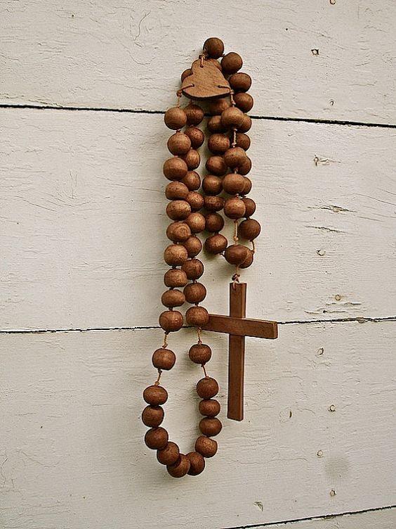 Vintage Large Wood Rosary Oversized Large Wood Rosary