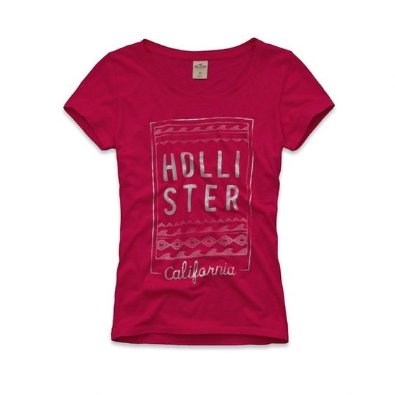 Hollister Co Salt Creek T-Shirt ($20) ❤ liked on Polyvore featuring tops, t-shirts, pink tee, vintage t shirts, cotton tee, hollister co. and vintage cotton t shirts