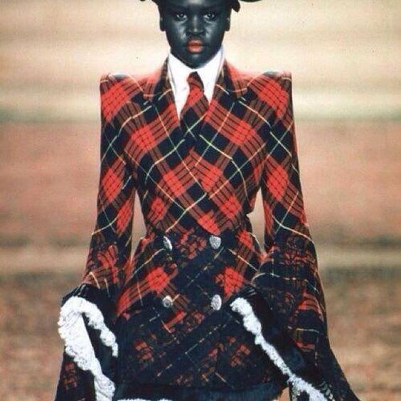 Alex Wek wearing Vivenne Westwood #afrotartan #followthetartan