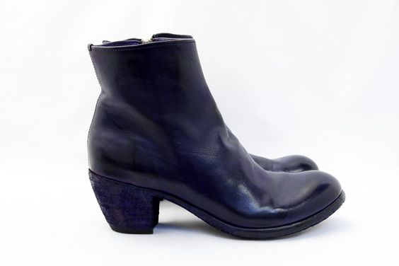 Navy Blue Mid-Heel Ankle Boot Zip Officine Creative Italy
