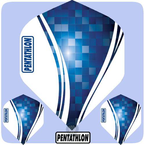 Dart Flights - <b>Pentathlon</b> Classic - 100 Micron - Extra Strong - Std - <b>Wave - Blue</b>