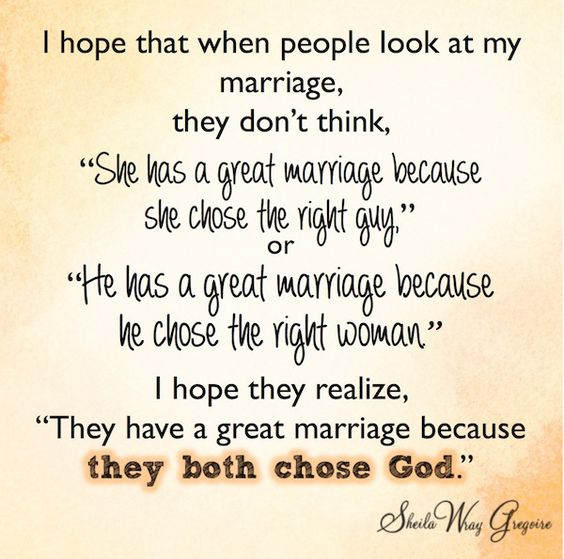 Marriage works best when we both choose God!: