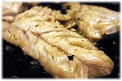 Lemon, garlic and chilli grilled haddock.