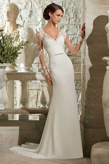 Organza Sheath/Column V-neck Sweep Train Long Sleeve Wedding Dresses