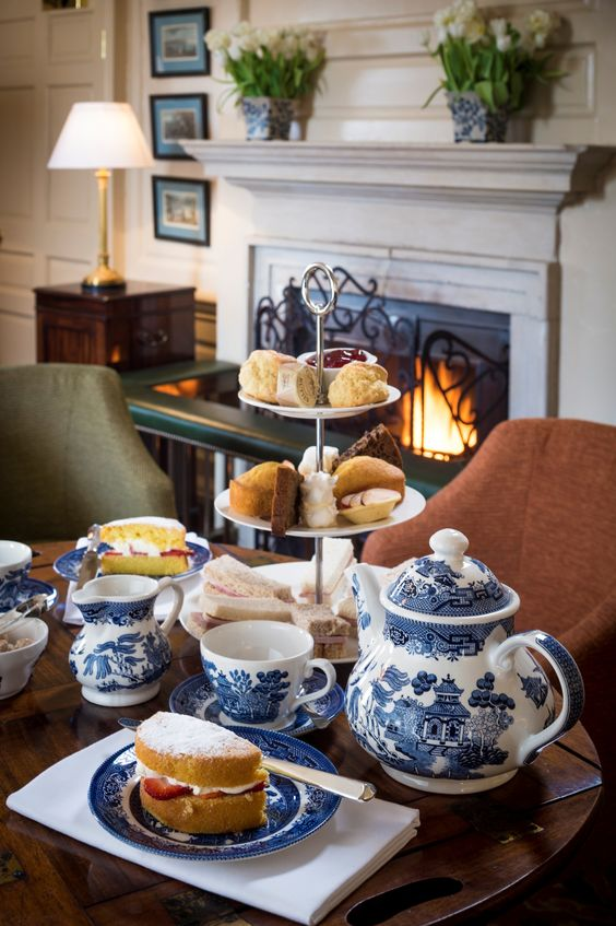 English Traditional Afternoon Tea by the Fire with Willow Pattern Tea Set ....