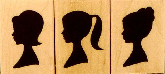THREE SILHOUETTES Hero Arts wood-mounted Rubber Stamp Set of 3 LP195 retro 1950s/1960s young womens' profile ponytail bun bob faces