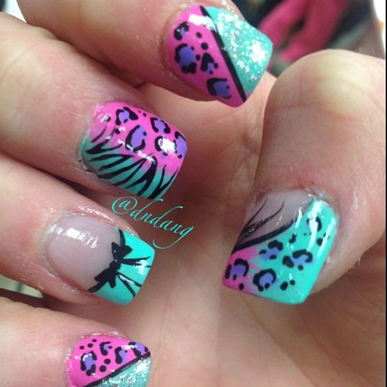 Wild French Tip Nail Designs: Love The Colors And Some Of The Designs But Cute Color