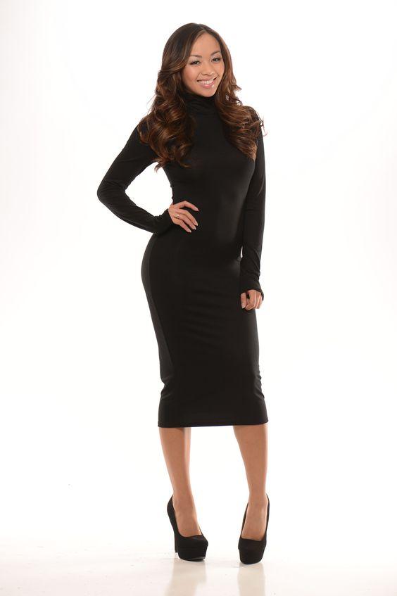 Long Sleeve Mock Neck Dress - Black